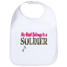 Heart Belongs to Soldier Bib