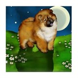 CHOW CHOW DOG FULL MOON Tile Coaster
