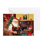 Santa's 2 Doxies (blk) Greeting Card