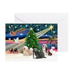 XmasMagic/3 Lhasas Greeting Cards (Pk of 10)