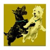 Black &amp; White Terriers Tile Coaster