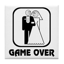 Smiling Bride & Groom Game Over Tile Coaster