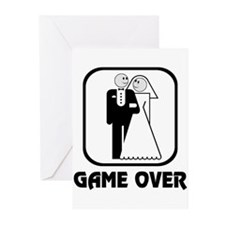 Smiling Bride & Groom Game Over Greeting Cards (Pk