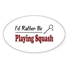 Rather Be Playing Squash Oval Sticker (10 pk)
