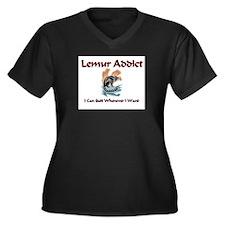 Lemur Addict Women's Plus Size V-Neck Dark T-Shirt