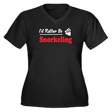 Rather Be Snorkeling Women's Plus Size V-Neck Dark