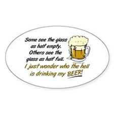 Half Empty Beer Decal