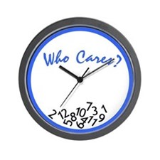 Who Cares? Wall Clock (blue & white)