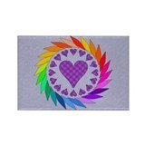 Rainbow Love Hearts Rectangle Magnet