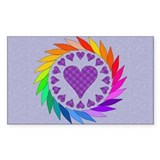 Rainbow Love Hearts Rectangle Decal