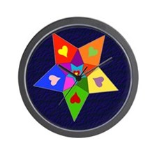 Rainbow Hearts Star Wall Clock
