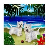 WEST HIGHLAND TERRIER DOGS BEACH Tile Coaster