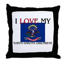 I Love My North Dakota Girlfriend Throw Pillow