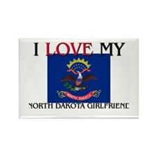 I Love My North Dakota Girlfriend Rectangle Magnet