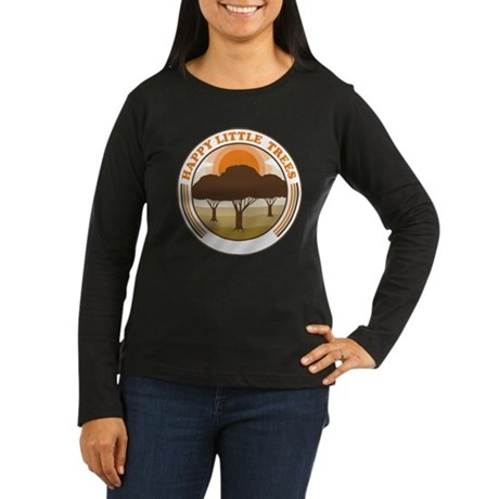 happy little trees Womens Long Sleeve Dark T-Shir