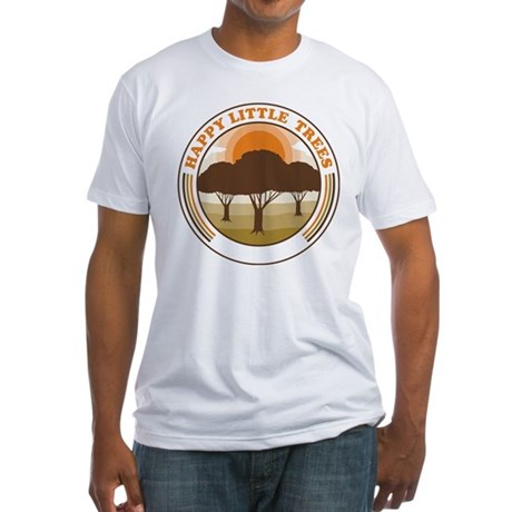 happy little trees Fitted T-Shirt