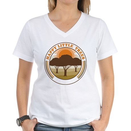 happy little trees Womens V-Neck T-Shirt