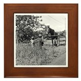 Americana Kids and Horse Framed Tile