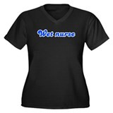 Retro Wet nurse (Blue) Women's Plus Size V-Neck Da