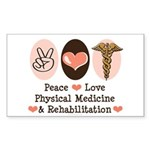 Peace Love PM&R Doctor Rectangle Sticker 50 pk)
