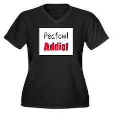 Peafowl Addict Women's Plus Size V-Neck Dark T-Shi