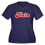 Retro Kaia (Red) Women's Plus Size V-Neck Dark T-S