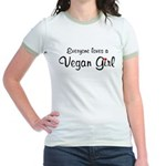 Everyone Loves Vegan Girl Jr. Ringer T-Shirt