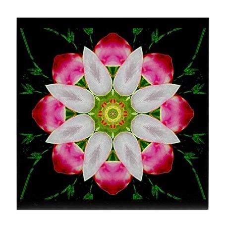 White Flower Tile Coaster