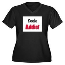 Koala Addict Women's Plus Size V-Neck Dark T-Shirt