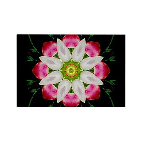 White Flower Rectangle Magnet
