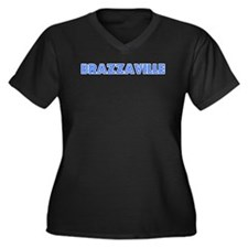 Retro Brazzaville (Blue) Women's Plus Size V-Neck