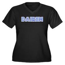 Retro Dairen (Blue) Women's Plus Size V-Neck Dark