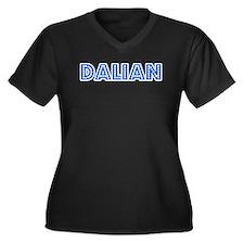 Retro Dalian (Blue) Women's Plus Size V-Neck Dark