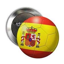 "Spain Flag Soccer Ball 2.25"" Button"