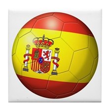 Spain Flag Soccer Ball Tile Coaster