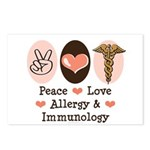 Peace Love Allergy Immunology Doctor Postcards 8Pk
