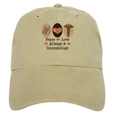 Peace Love Allergy Immunology Doctor Baseball Cap