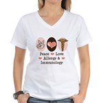 Peace Love Allergy Immunology Doctor Women's V-Nec