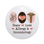 Peace Love Allergy Immunology Ornament (Round)