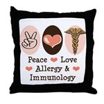 Peace Love Allergy Immunology Doctor Throw Pillow