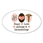 Peace Love Allergy Immunology Oval Sticker (50 pk)