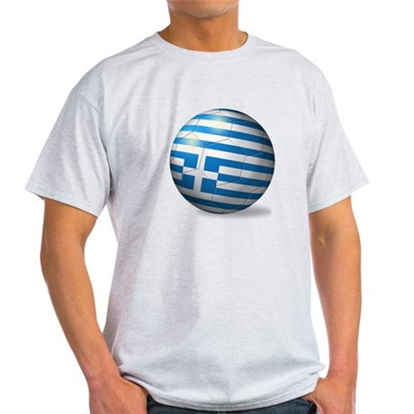 Greece Flag Soccer Ball Light T-Shirt