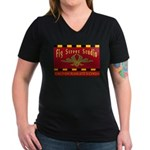Fig Street Studio Sign Women's V-Neck Dark T-Shirt