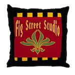Fig Street Studio Sign Throw Pillow