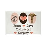 Peace Love Colorectal Surgery Rectangle Magnet