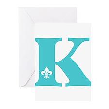 K Fleur Initial Greeting Cards (Pk of 10)
