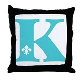 K Fleur Initial Throw Pillow