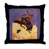 Western Americana Bronc Rider Throw Pillow