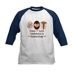 Peace Love OB/GYN Doctor Kids Baseball Jersey