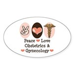 Peace Love OB/GYN Doctor Oval Sticker